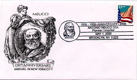 US Post Office special cancellation for the 150th Anniversary of Antonio Meucci's Arrival in New York City